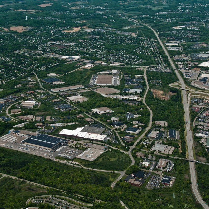 And aerial view of Thorn Hill Industrial Park