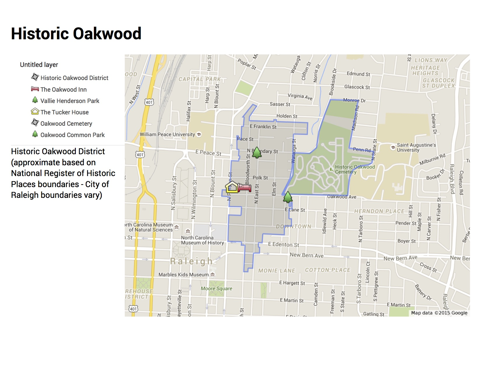 map of historic Oakwood
