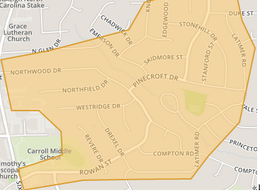 Lakemont Neighborhood map in Midtown Raleigh