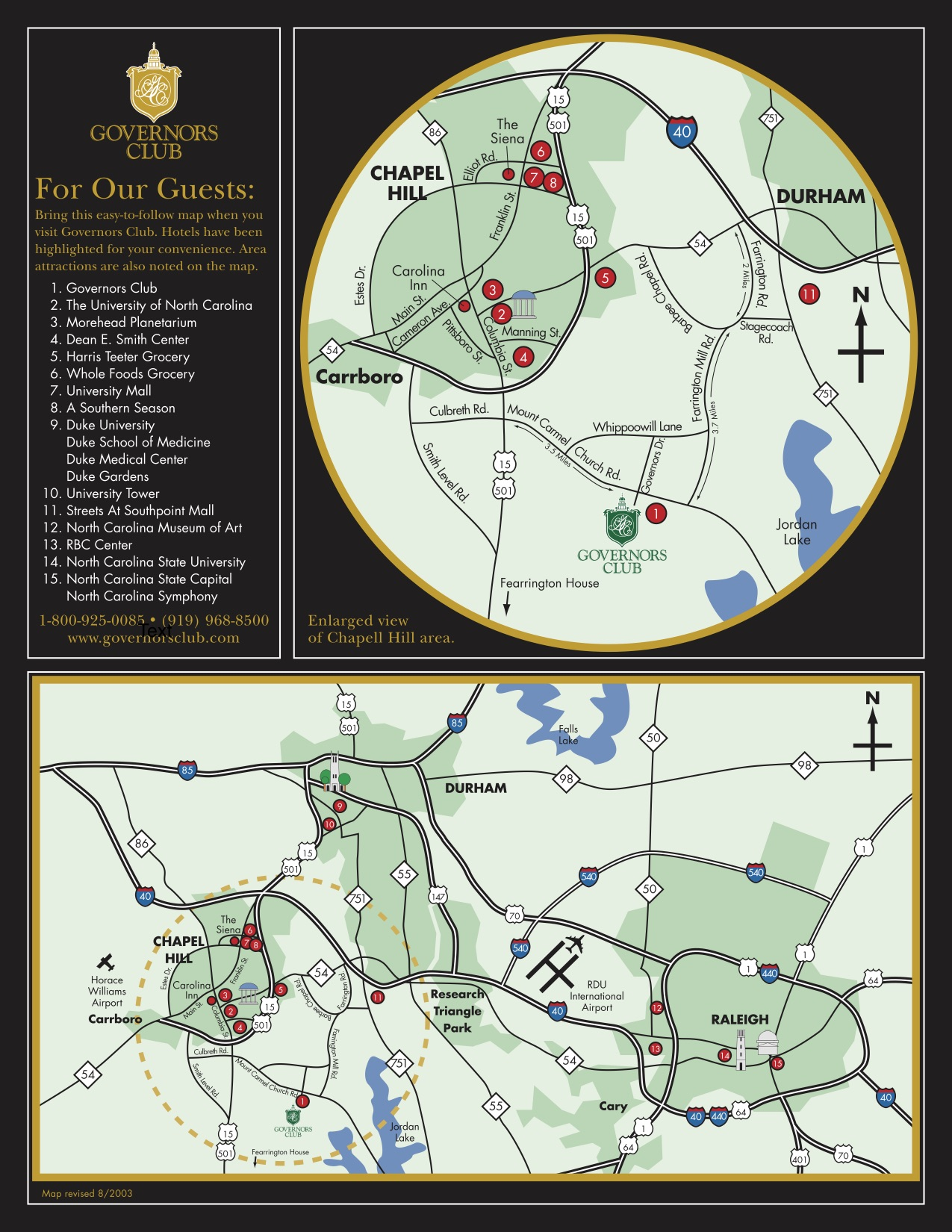 nearby amenities map for Governor's Country Club