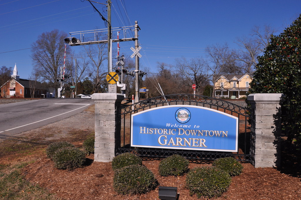"""welcome to Historic Downtown Garner"" sign"