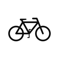 black outline of a bicycle icon