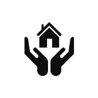 icon of hands holding a home