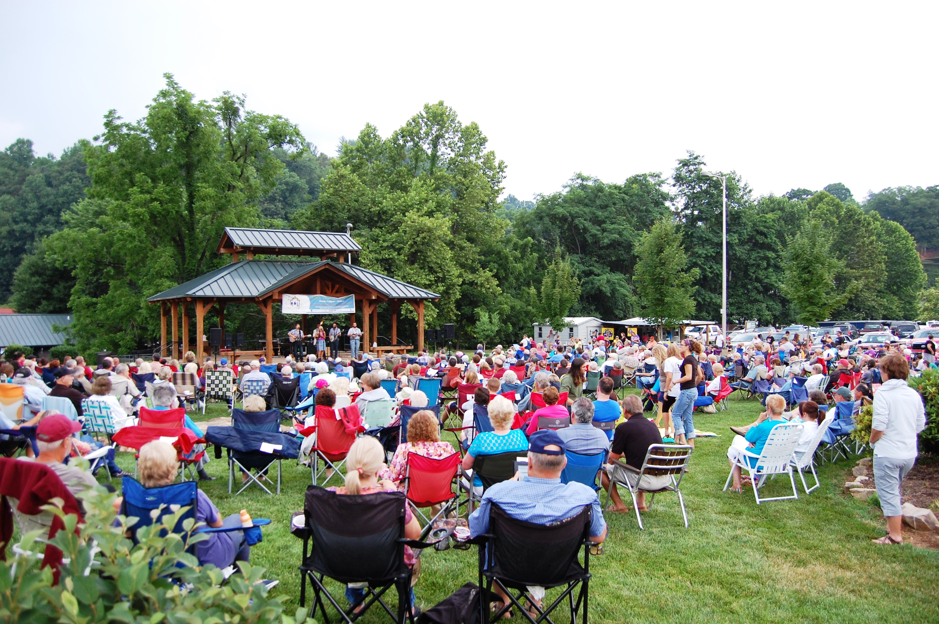 concert attendees on the lawn in Sylva NC