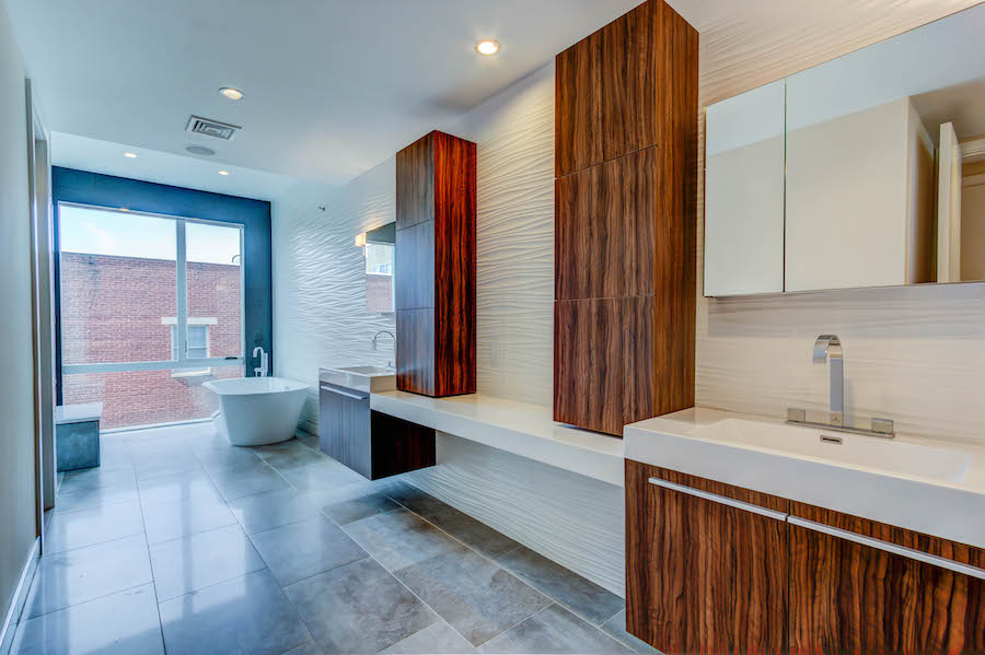 luxury bath and double sink with wood